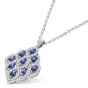 "J-Jaz Micro Pave Fancy White & Blue Cz Pendant with 18"" Chain"